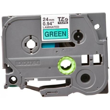Brother tape 24 mm. sort tekst / grøn tape (laminerede) 8 m. pr. rl.