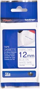 Brother stof (strygning) tape 12 mm. blå på hvid tape - 4 m