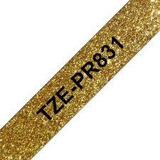 Tze-pr831 original brother tape 12mm. sort tekst / guld glimmertape (laminerede) 8 m. pr. rl.