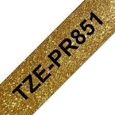 Tze-pr851 original brother tape 24mm. sort tekst / guld glimmertape (laminerede) 8 m. pr. rl.