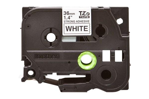 Brother tape 36 mm. sort tekst / hvid tape (laminerede) 8 m. pr. rl.